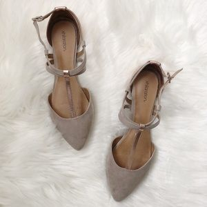Target Taupe Rose Gold Strappy Flats sz 5.5